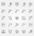 cctv icons set - camera concept line vector image vector image