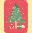 christmas tree vintage card on old paper poster vector image vector image