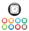clock wall icons set color vector image vector image