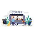 coffee shop cartoon street cafe in van trailer vector image