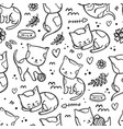 coloring page kitty pattern seamless sketch vector image