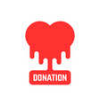 donation icon with bleeding heart vector image vector image