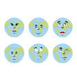 Earth emotions Set Planet with cartoon face
