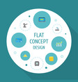 flat icons ingot small change bar diagram and vector image vector image