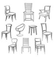 furniture set room interior decor chair armchair vector image