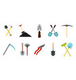 garden tools icon set flat style vector image