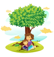 Girls reading under Tree vector image