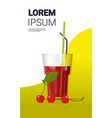 glass fresh cherry juice with straw and berries vector image