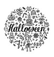 greeting card happy halloween with lettering vector image vector image