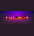 halloween message pumpkin and bat banner vector image vector image