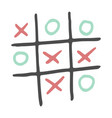 hand-drawn tic tac toe game color vector image vector image