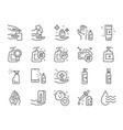 hand sanitizer line icon set vector image vector image
