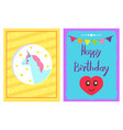 happy birthday set headline vector image