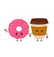 happy cute smiling donut and coffee vector image vector image