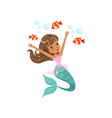 happy mermaid girl swimming underwater with little vector image