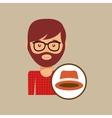 hipster orange hat man bearded vector image