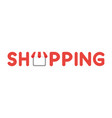 icon concept of shopping word with shop store vector image vector image