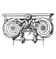 ionic pilaster capital volutes vintage engraving vector image vector image