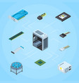 isometric electronic devices infographic vector image vector image