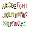 latin striped alphabet vector image vector image