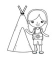 little tourist girl with teepee vector image vector image