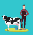man standing in front of cow cattle farming vector image vector image