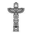maya totem engraving vector image