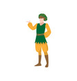 medieval royal castle man in green vest and yellow vector image vector image