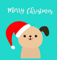 merry christmas cute puppy dog face in red santa vector image