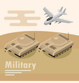 military transport armored tank and airplane vector image