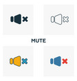 mute icon set four elements in diferent styles vector image vector image