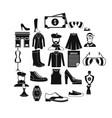 old fashion icons set cartoon style vector image