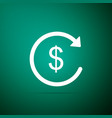 refund money icon isolated on green background vector image