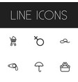 set of 6 editable shopping icons line style vector image