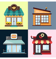 set of stylized of restaurant objects of vector image