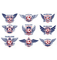 set of winged emblems with soccer ball design vector image