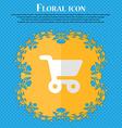 shopping basket Floral flat design on a blue vector image
