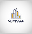 simple city maze property logo design vector image vector image