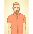 Sketch handsome hipster guy in vintage style vector image vector image