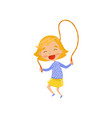 smiling little girl jumping with skipping rope vector image vector image