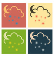 snow cloud and month simple flat symbol icon with vector image vector image