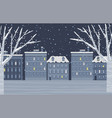 snowy city in evening winter holiday weather vector image vector image