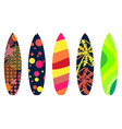 Surfboards on a white background types