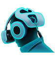 virtual reality headset in neon tones vector image vector image