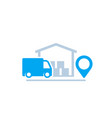 warehouse and van delivery icon vector image vector image