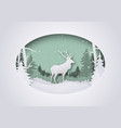 wintry paper art xmas greeting with deer in forest vector image vector image