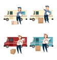 Woman delivery with boxes and cars vector image vector image