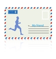 Silhouettes athlete runs on the mail envelope vector image