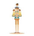 happy father with 3 children vector image