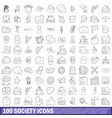100 society icons set outline style vector image vector image